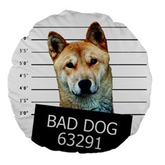Bad Dog Large 18  Premium Round Cushions by Valentinaart