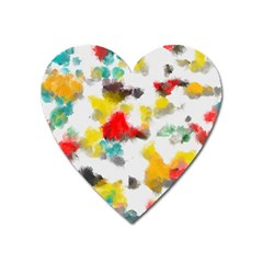 Colorful Paint Stokes           Magnet (heart) by LalyLauraFLM