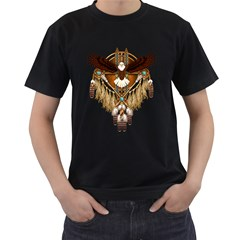 Native American Bald Eagle Mandala Men s T-shirt (black) by NaumaddicArts