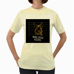Bad Dog Women s Yellow T-shirt by Valentinaart