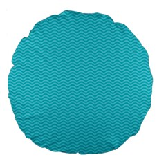Blue Waves Pattern  Large 18  Premium Flano Round Cushions