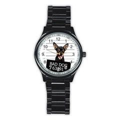 Bad Dog Stainless Steel Round Watch by Valentinaart