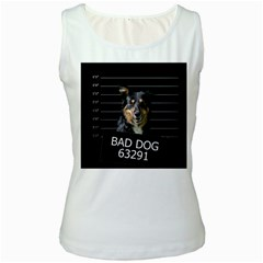 Bad Dog Women s White Tank Top
