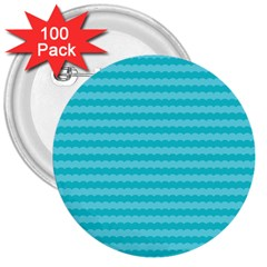 Abstract Blue Waves Pattern 3  Buttons (100 Pack)