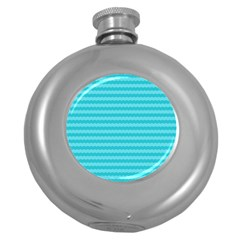 Abstract Blue Waves Pattern Round Hip Flask (5 Oz) by TastefulDesigns