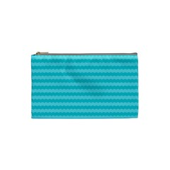 Abstract Blue Waves Pattern Cosmetic Bag (small)