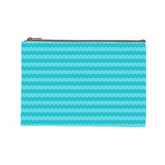 Abstract Blue Waves Pattern Cosmetic Bag (large)  by TastefulDesigns