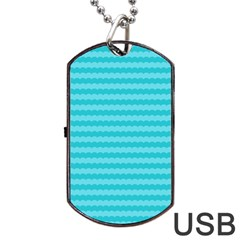 Abstract Blue Waves Pattern Dog Tag Usb Flash (two Sides)