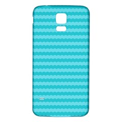 Abstract Blue Waves Pattern Samsung Galaxy S5 Back Case (white)