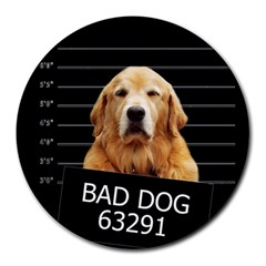 Bad Dog Round Mousepads by Valentinaart