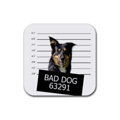 Bad Dog Rubber Square Coaster (4 Pack)  by Valentinaart