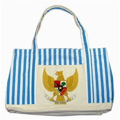 National Emblem Of Indonesia  Striped Blue Tote Bag by abbeyz71