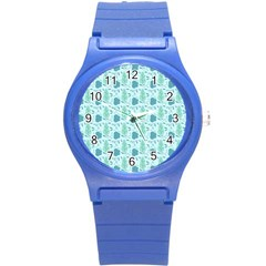 Flowers And Leaves Pattern Round Plastic Sport Watch (s)