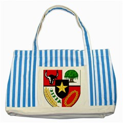 Shield Of National Emblem Of Indonesia Striped Blue Tote Bag by abbeyz71