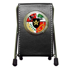 Shield Of National Emblem Of Indonesia  Pen Holder Desk Clocks by abbeyz71
