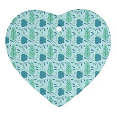 Seamless Floral Background  Heart Ornament (two Sides) by TastefulDesigns