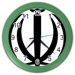 Emblem Of Iran Color Wall Clocks by abbeyz71