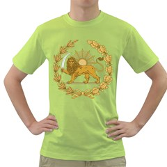 Lion & Sun Emblem Of Persia (iran) Green T Shirt by abbeyz71