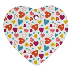 Colorful Bright Hearts Pattern Ornament (heart) by TastefulDesigns