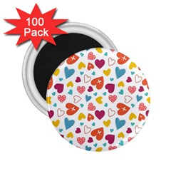 Colorful Bright Hearts Pattern 2 25  Magnets (100 Pack)  by TastefulDesigns