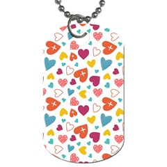Colorful Bright Hearts Pattern Dog Tag (two Sides) by TastefulDesigns
