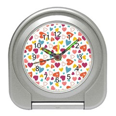 Colorful Bright Hearts Pattern Travel Alarm Clocks by TastefulDesigns