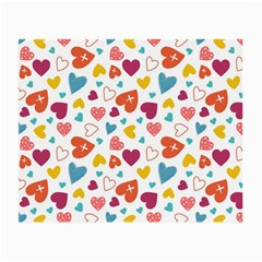 Colorful Bright Hearts Pattern Small Glasses Cloth by TastefulDesigns