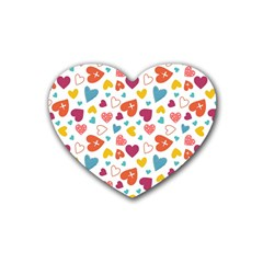 Colorful Bright Hearts Pattern Rubber Coaster (heart)  by TastefulDesigns