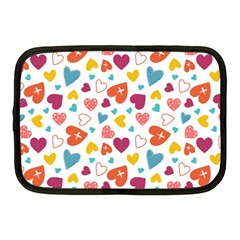 Colorful Bright Hearts Pattern Netbook Case (medium)  by TastefulDesigns