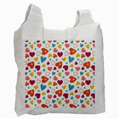 Colorful Bright Hearts Pattern Recycle Bag (one Side) by TastefulDesigns