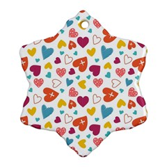 Colorful Bright Hearts Pattern Ornament (snowflake) by TastefulDesigns
