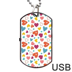 Colorful Bright Hearts Pattern Dog Tag Usb Flash (two Sides) by TastefulDesigns