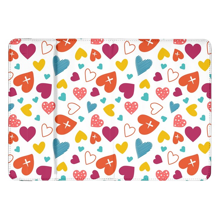 Colorful Bright Hearts Pattern Samsung Galaxy Tab 8.9  P7300 Flip Case