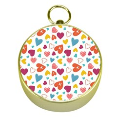 Colorful Bright Hearts Pattern Gold Compasses by TastefulDesigns