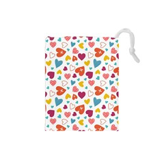 Colorful Bright Hearts Pattern Drawstring Pouches (small)  by TastefulDesigns