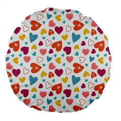 Colorful Bright Hearts Pattern Large 18  Premium Flano Round Cushions by TastefulDesigns
