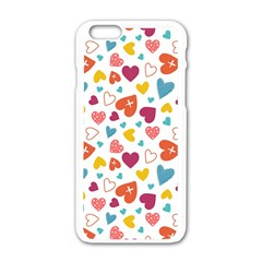 Colorful Bright Hearts Pattern Apple Iphone 6/6s White Enamel Case by TastefulDesigns