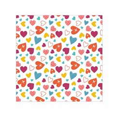 Colorful Bright Hearts Pattern Small Satin Scarf (square) by TastefulDesigns