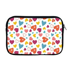 Colorful Bright Hearts Pattern Apple Macbook Pro 17  Zipper Case by TastefulDesigns