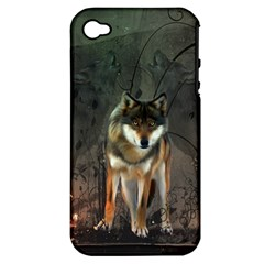 Awesome Wolf In The Night Apple Iphone 4/4s Hardshell Case (pc+silicone) by FantasyWorld7
