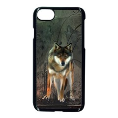 Awesome Wolf In The Night Apple Iphone 7 Seamless Case (black) by FantasyWorld7