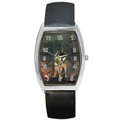Awesome Wolf In The Night Barrel Style Metal Watch