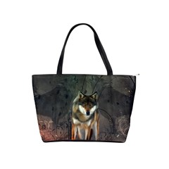 Awesome Wolf In The Night Shoulder Handbags by FantasyWorld7