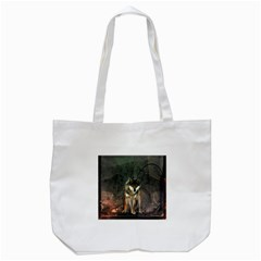 Awesome Wolf In The Night Tote Bag (white) by FantasyWorld7