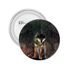 Awesome Wolf In The Night 2 25  Buttons by FantasyWorld7