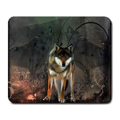 Awesome Wolf In The Night Large Mousepads by FantasyWorld7
