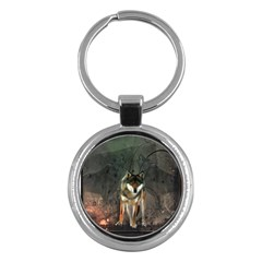 Awesome Wolf In The Night Key Chains (round)  by FantasyWorld7