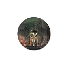 Awesome Wolf In The Night Golf Ball Marker (10 Pack) by FantasyWorld7