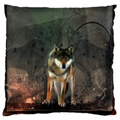 Awesome Wolf In The Night Standard Flano Cushion Case (two Sides) by FantasyWorld7