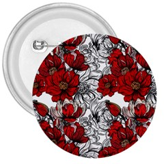 Hand Drawn Red Flowers Pattern 3  Buttons by TastefulDesigns